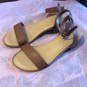 Tan ankle strap sandals